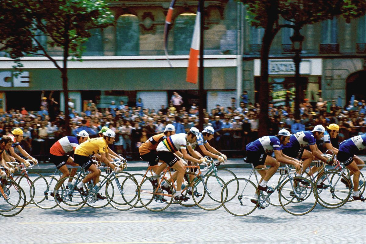 Merckx and co on the Champs Elysees, 1975 Tour de France