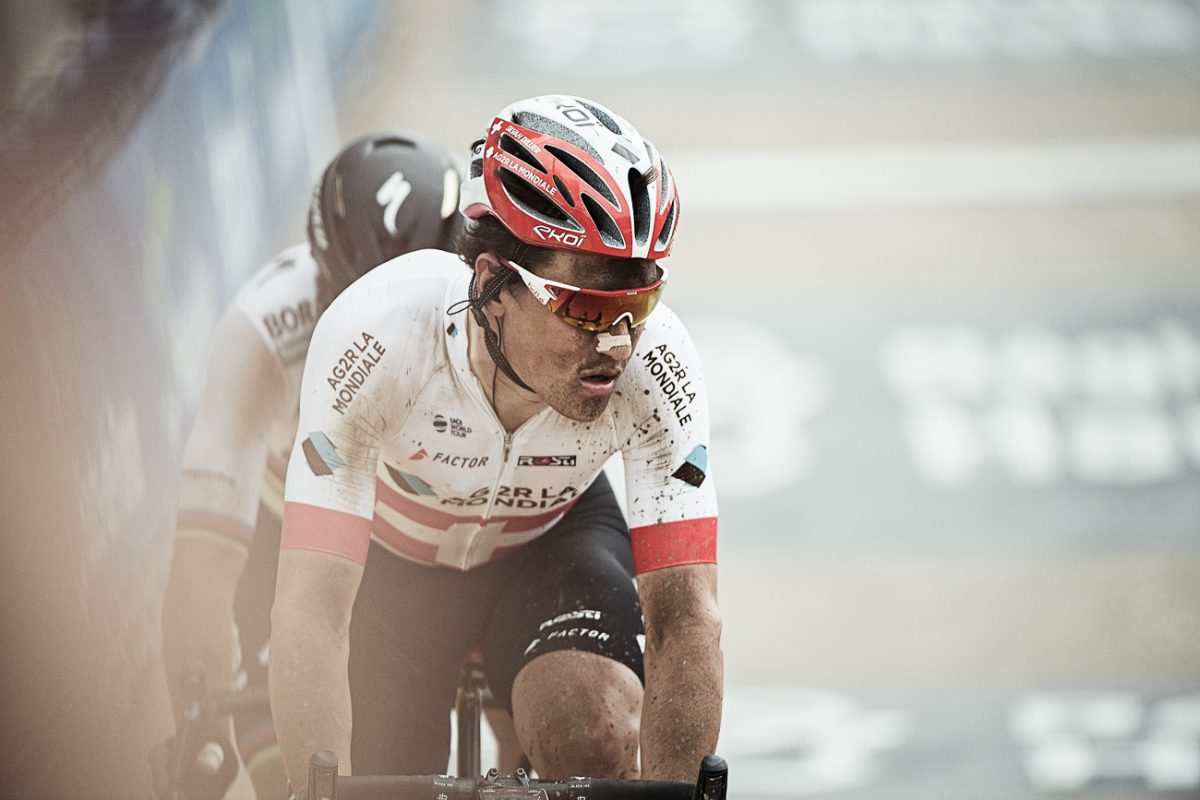 Caught up in the moment with Roubaix runner-up Silvan Dillier