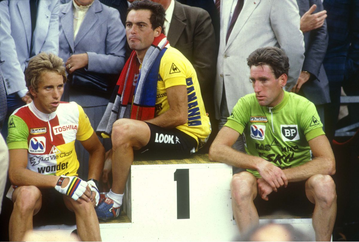 L'EQUIPE *** Local Caption *** lemond (greg) hinault (bernard) kelly (sean)