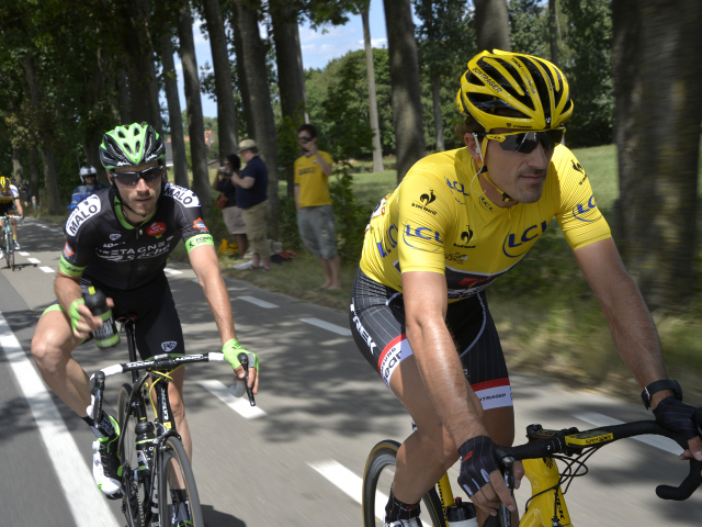 Fabian Cancellara in the Maillot Jaune at the Tour de France 2015