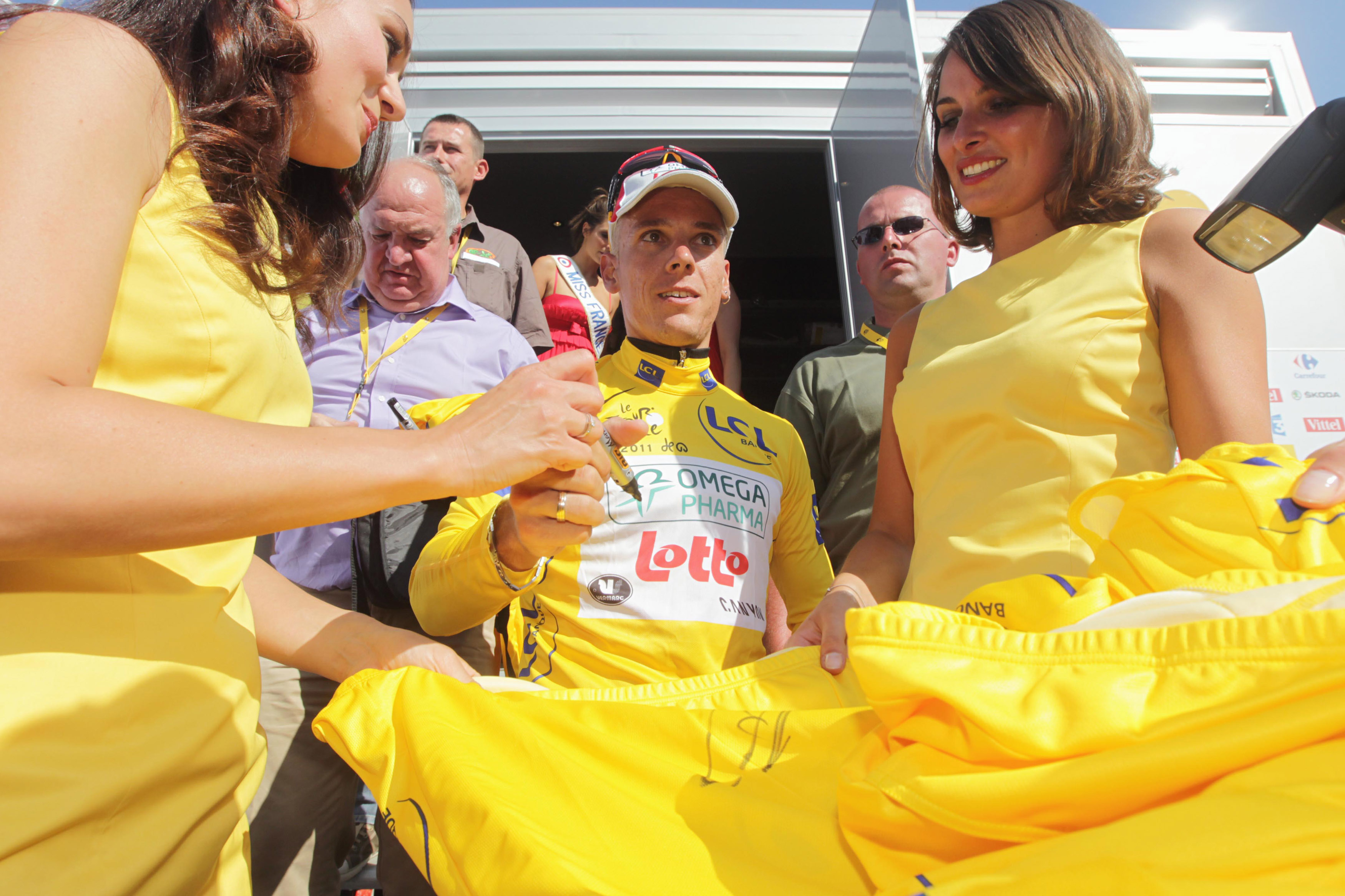 Philippe Gilbert in the yellow jersey at the 2011 Tour de France
