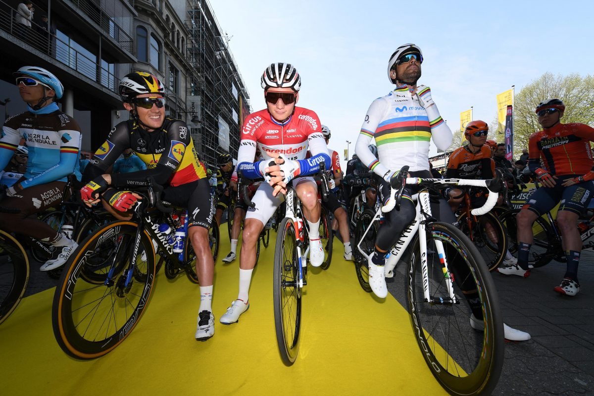 Yves Lampaert, Mathieu van der Poel and Alejandro Valverde await the start of the Tour of Flanders