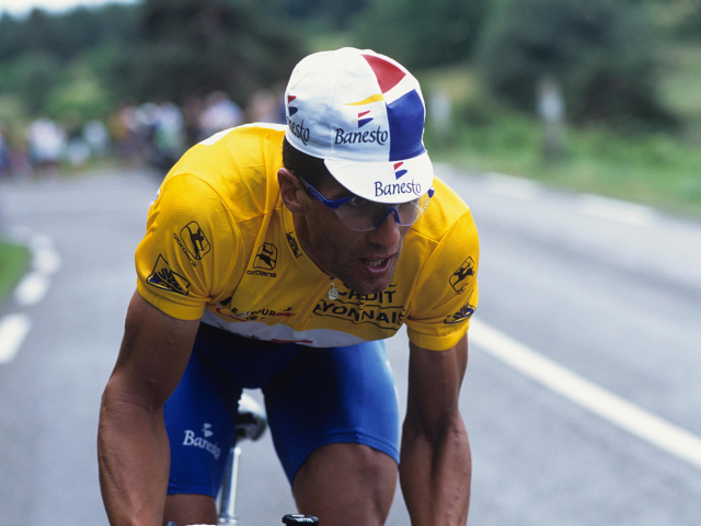 Miguel Indurain in the yellow jersey on Stage 12 of the 1995 Tour de France