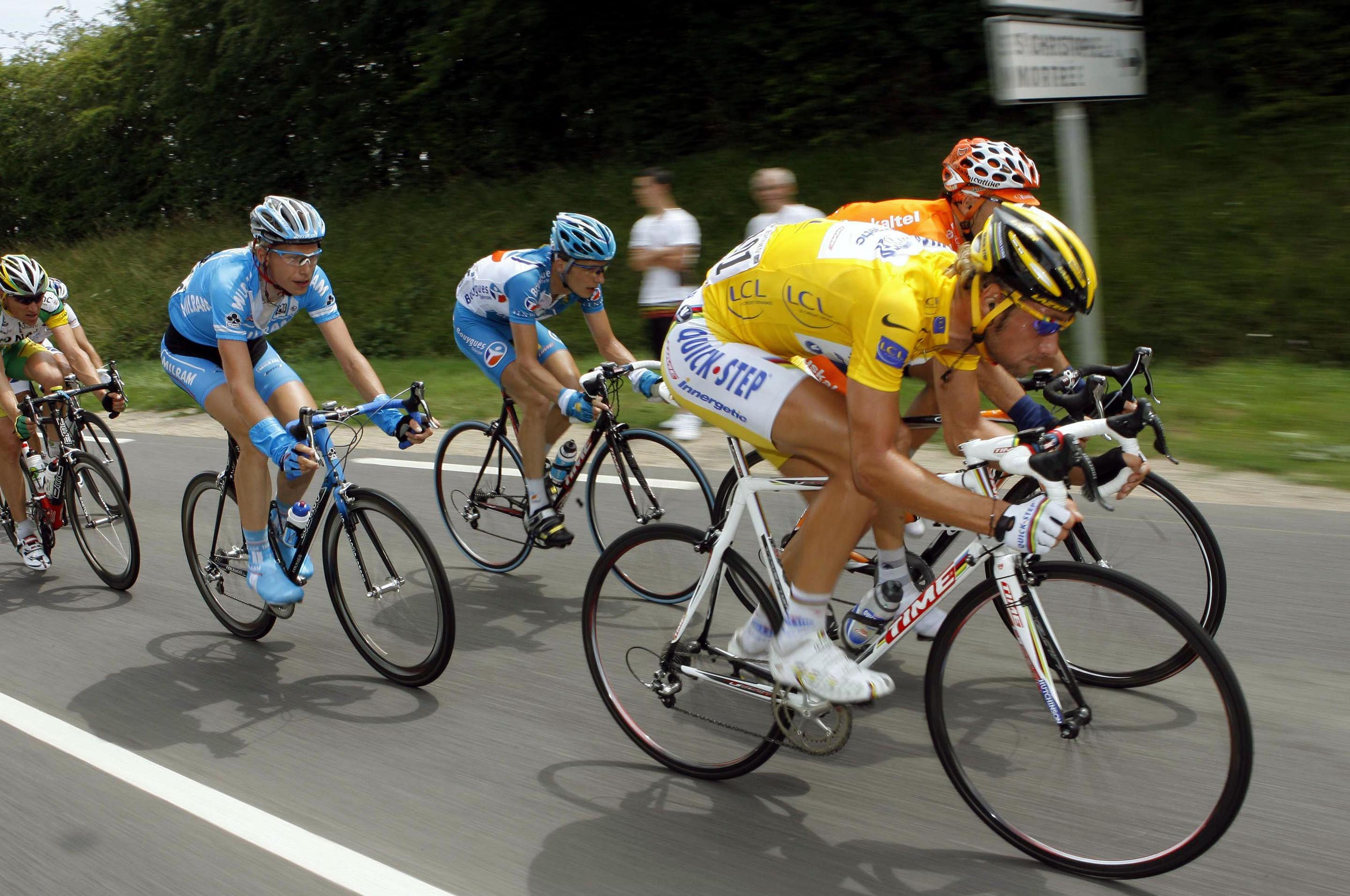 Tom Boonen in the yellow jersey at the 1976 Tour de France